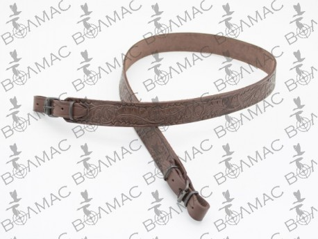 Ремень для ружья прямой тисненый жолудями кожаный
