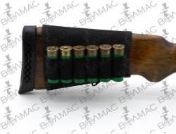 Патронташ на приклад 6 патронів на липучці синтетичний (колір чорний)